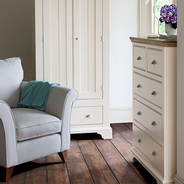 Impello ivory bedroom furniture painted chest of drawers
