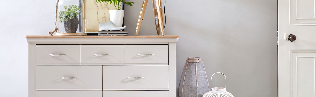 French grey painted bedroom furniture with limed oak tops