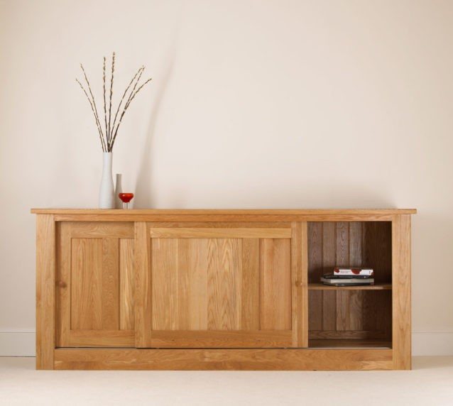 quercus solid oak sliding door sideboard