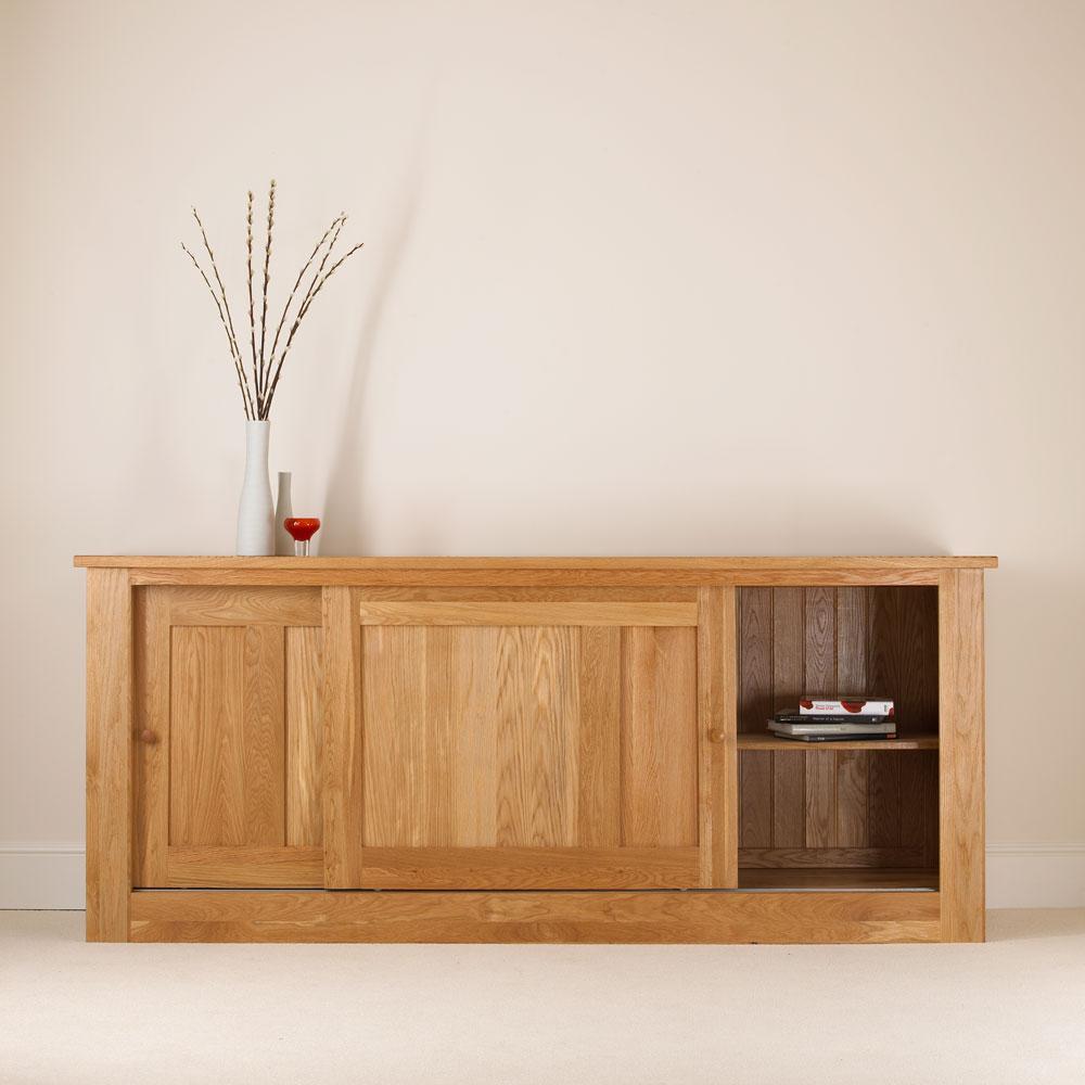 Quercus solid oak sliding door sideboard extra deep con for Door furniture