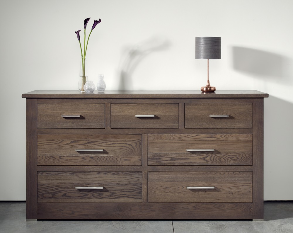 quercus solid oak 4+3 extra wide chest of drawers - con