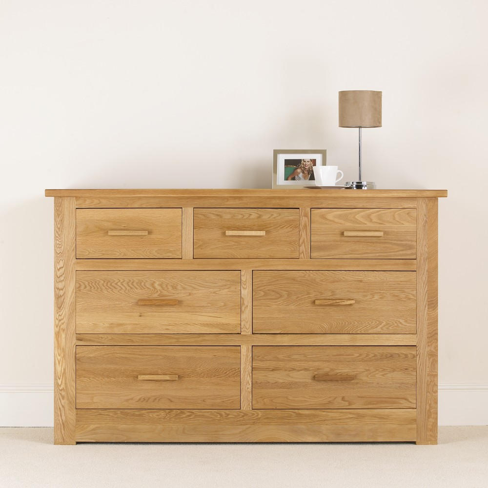 Quercus Solid Oak 4 3 Chest Of Drawers Con Tempo Furniture