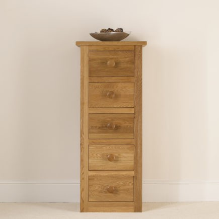 quercus oak bedroom furniture oak 5 drawer narrow chest of drawers