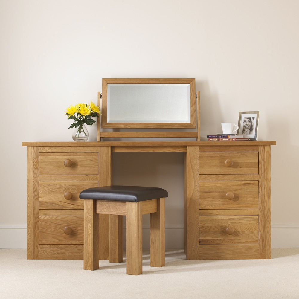 Oak Dressing Table ~ Quercus solid oak double pedestal dressing table con