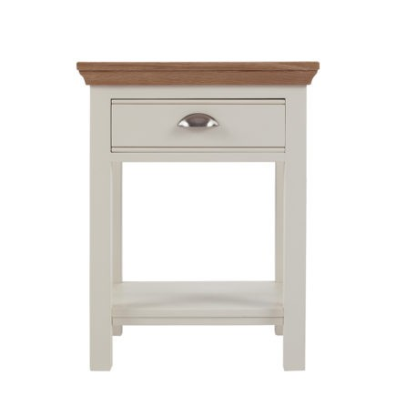Impello ivory painted bedroom furniture small bedside table with oak top