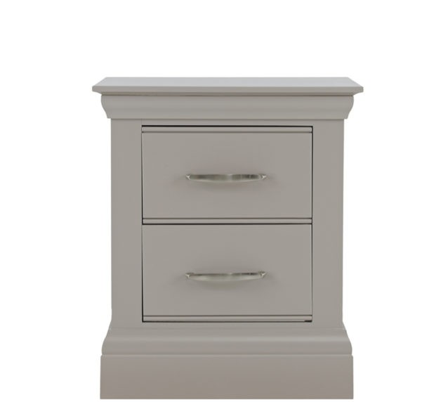 lusso grey painted bedroom furniture 2 drawer bedside table
