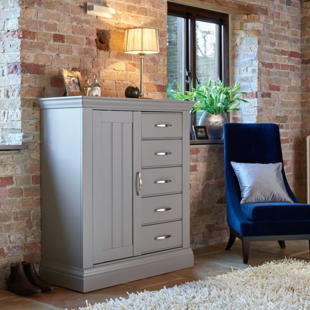 lusso grey painted gents wardrobe chest