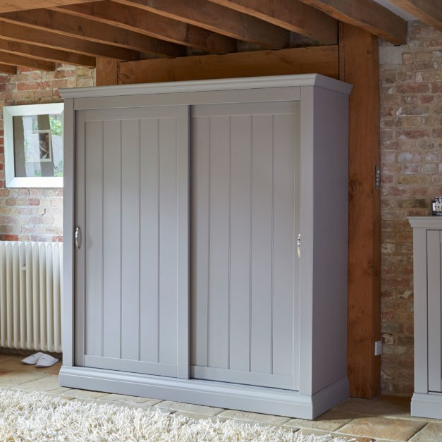 lusso grey painted sliding door wardrobe