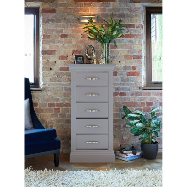 lusso grey painted narrow chest of drawers