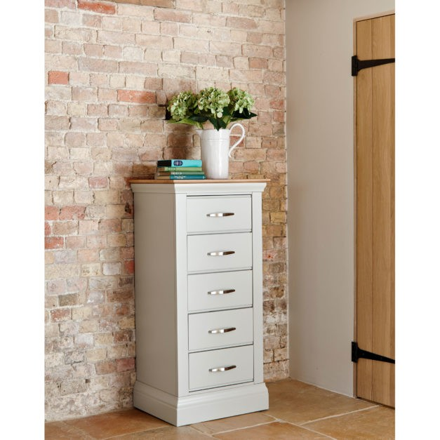 Lusso grey painted bedroom furniture with oak tops