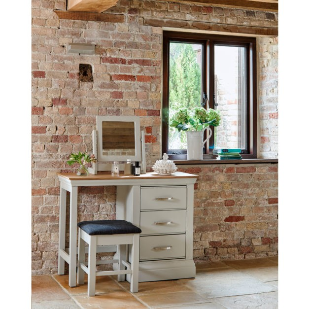 lusso grey painted bedroom furniture pedestal dressing table with oak top and stool