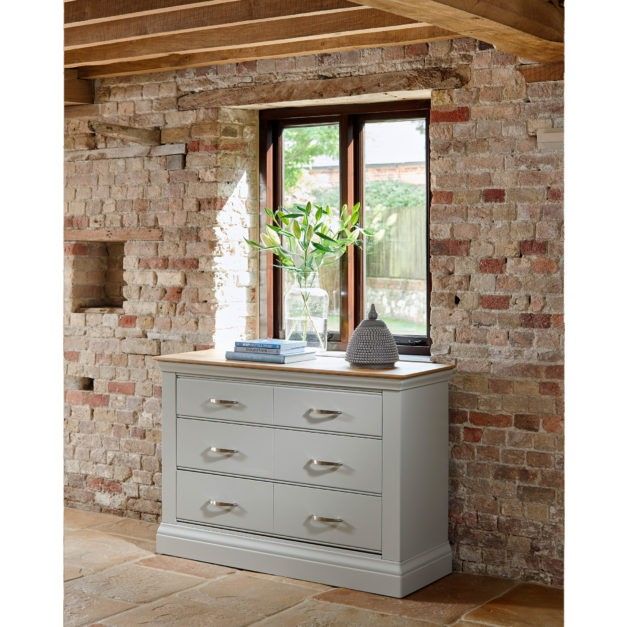 lusso french grey painted chest of drawers