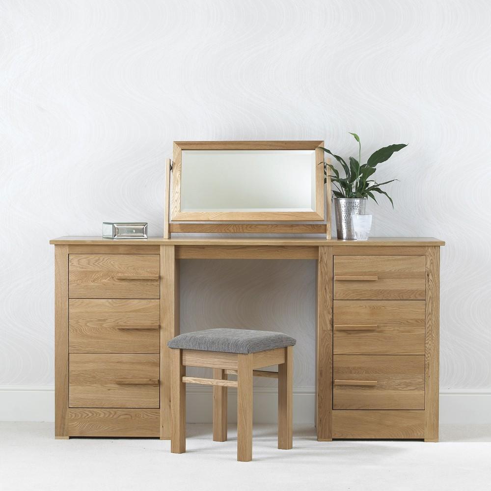 Ora Oak Double Pedestal Dressing Table Con Tempo Furniture