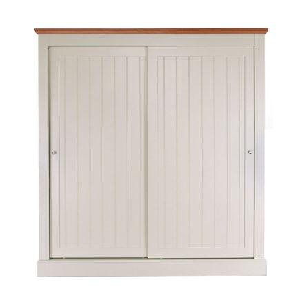 Impello ivory painted sliding door wardrobe with oak top