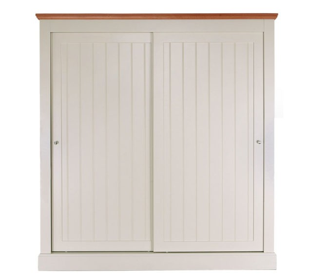 Impello ivory painted sliding door wardrobe with oak top