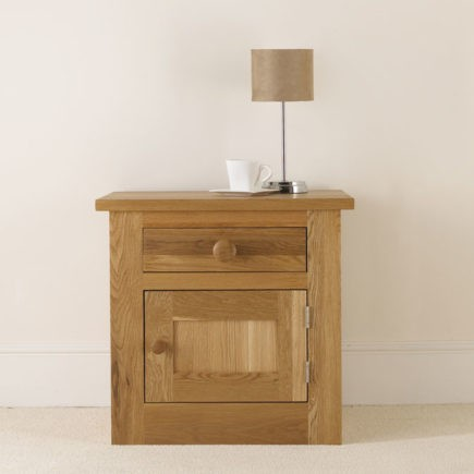 Quercus solid oak bedroom furniture bedside table with door and drawer