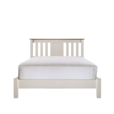 Impello ivory painted bedroom furniture painted slatted bed with oak tops