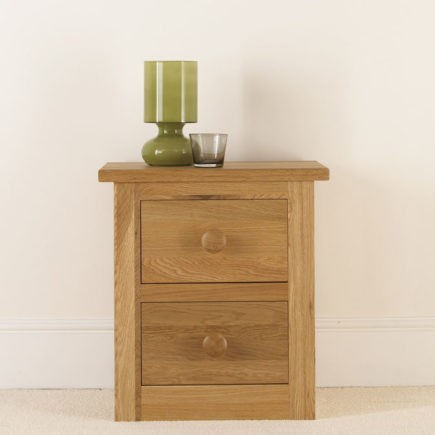 Quercus solid oak bedroom furniture small 2 drawer bedside table