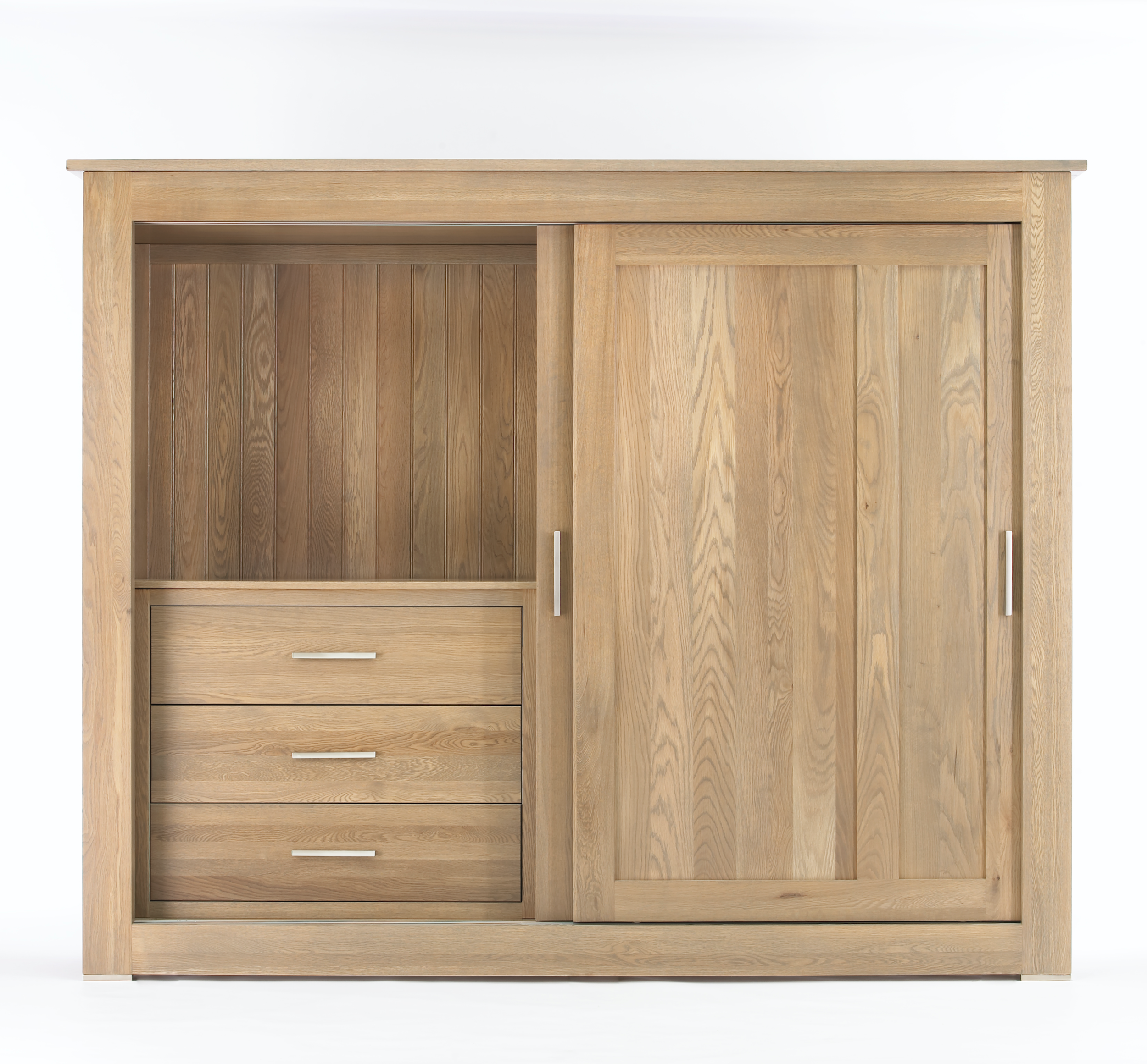 Quercus Solid Oak Sliding Door Wardrobe 2 4m Con Tempo