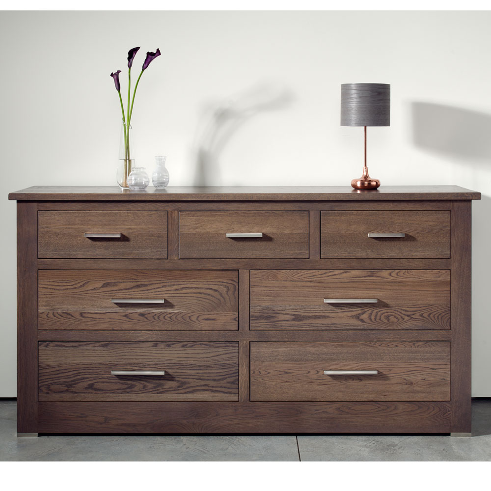 Quercus Solid Oak 4 3 Extra Wide Chest Of Drawers Con