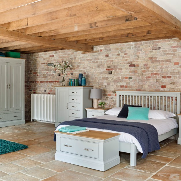 grey painted bedroom furniture with oak tops
