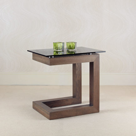 contemporary oak and glass side tables