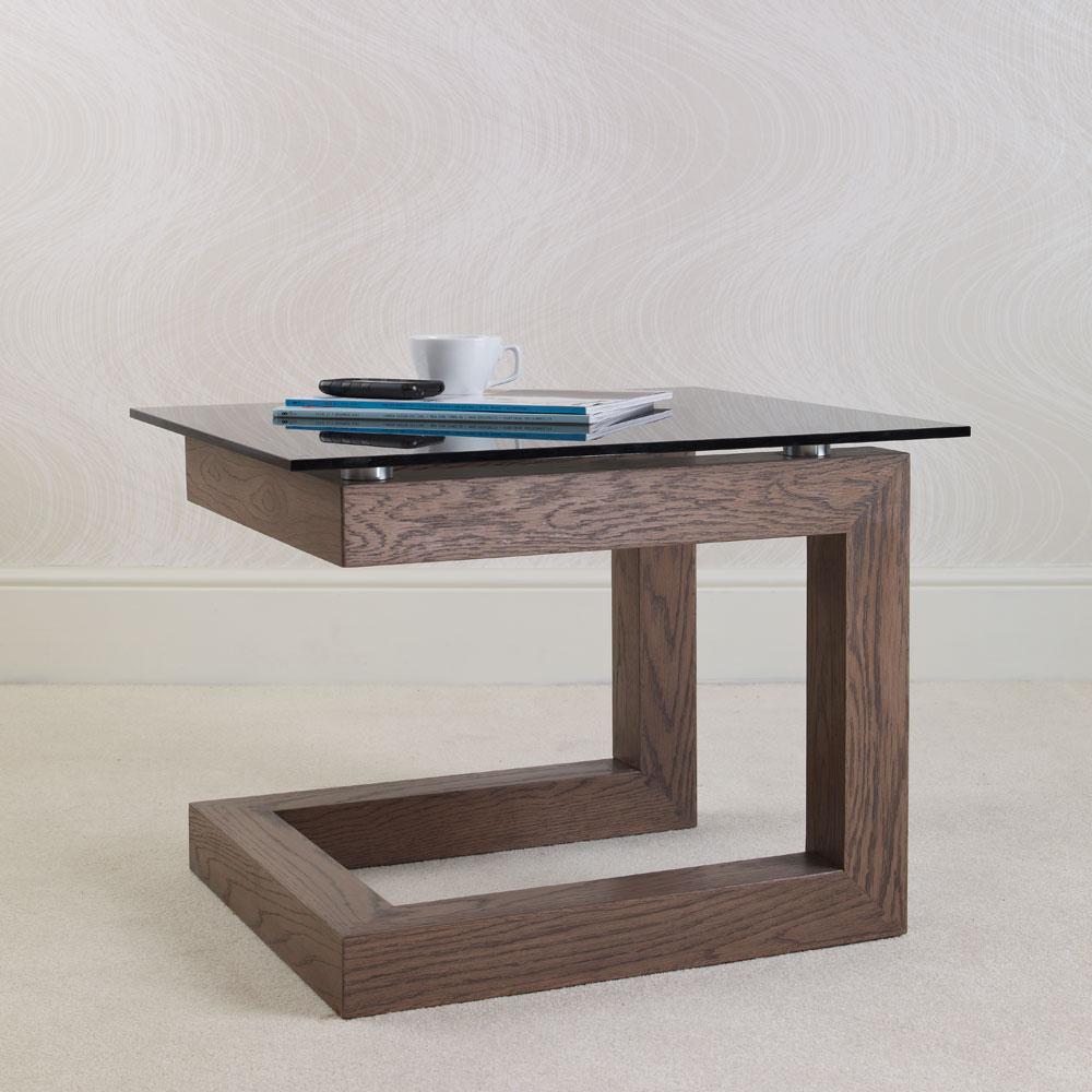 Glass Oak Coffee Table Uk: Primo Oak & Glass Side Table