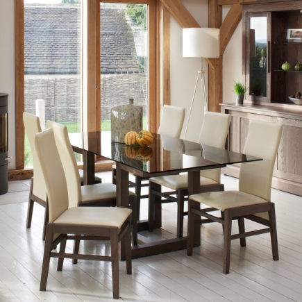 quercus oak and glass dining tables