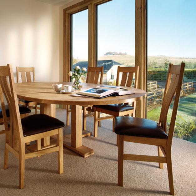quercus solid oak dining room tables large round extending tables