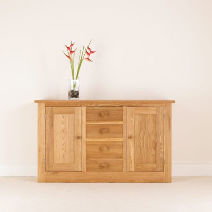 quercus solid oak center drawer sideboard