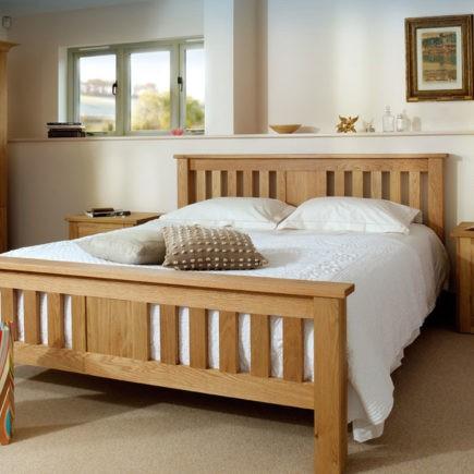 quercus oak bedroom furniture oak slated bed