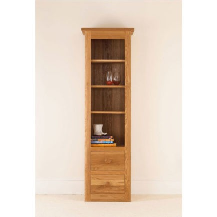quercas solid oak cabinet tall boy with drawers