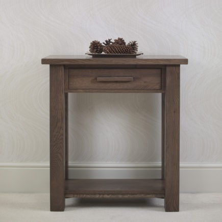 quercus solid oak small console table with drawer