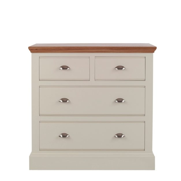 Impello ivory painted bedroom furniture 4 drawer chest of drawers with oak top