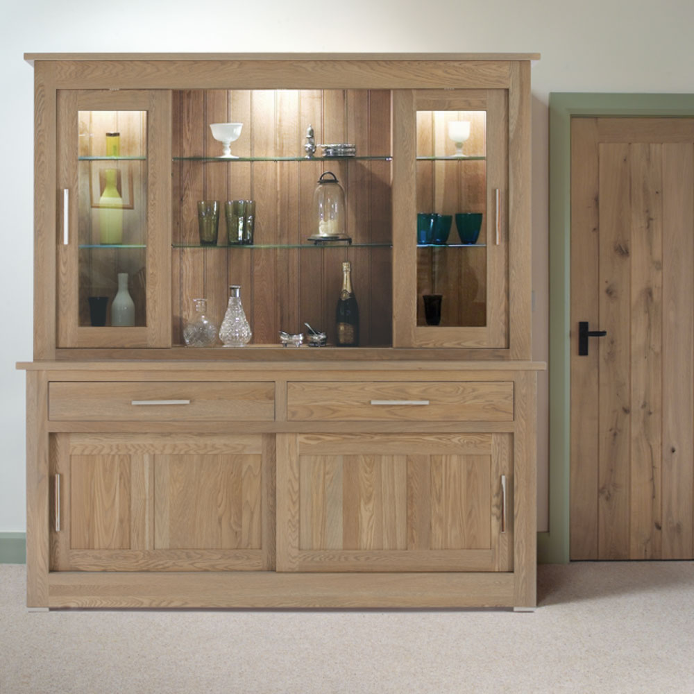 quercus solid oak sliding door sideboard with glazed rack. Black Bedroom Furniture Sets. Home Design Ideas
