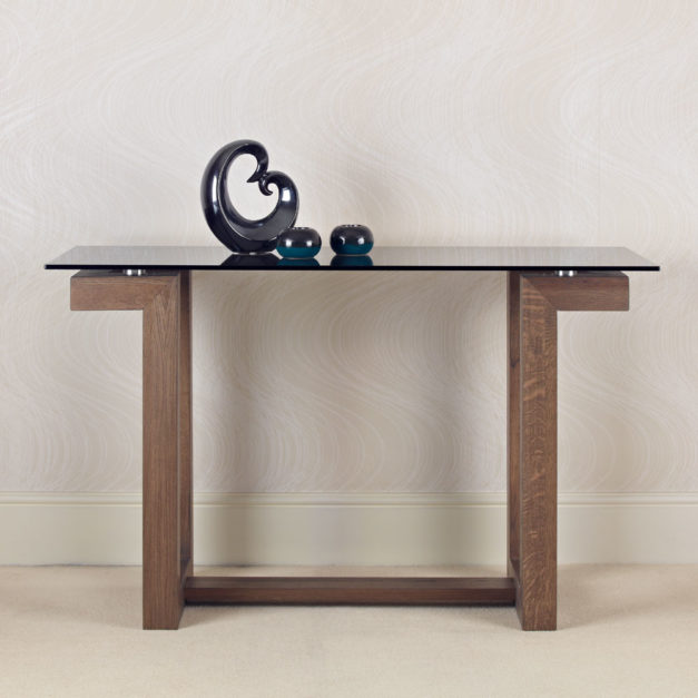 contemporary oak and glass console tables