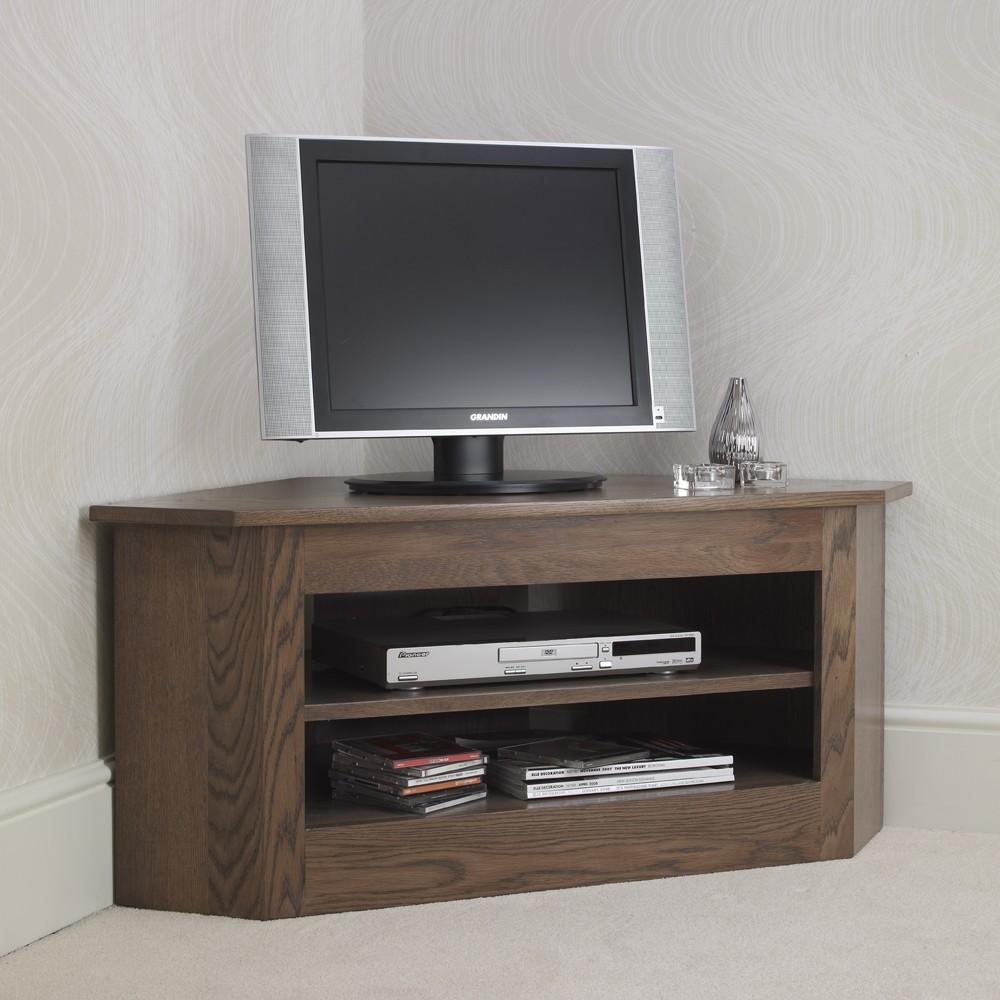 Ora oak small open corner tv unit con tempo furniture for Petite table tv