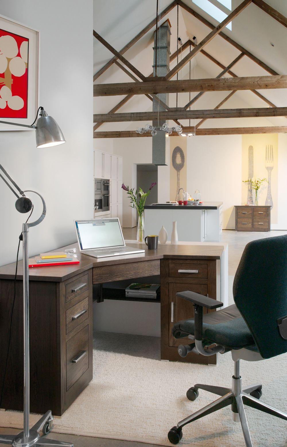 Quercus Oak Corner Office Desk Con Tempo Furniture
