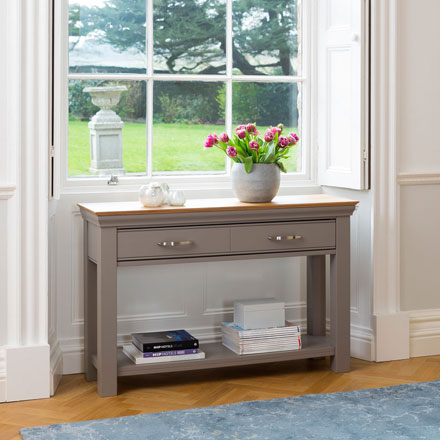 Grey painted console tables