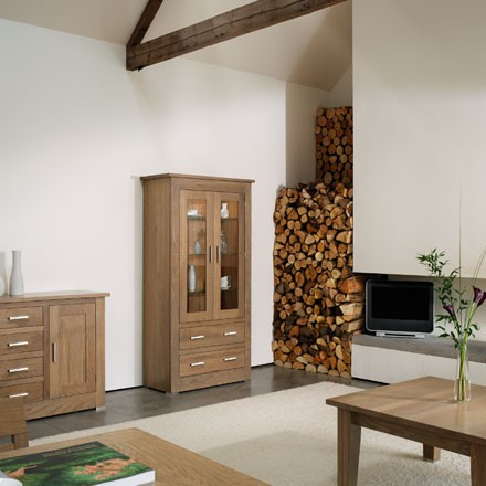 Quercus solid oak bookcases and cabinets