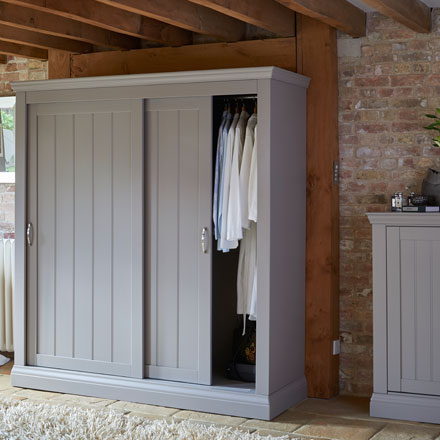 Lusso painted bedroom furniture Grey painted sliding door wardrobes