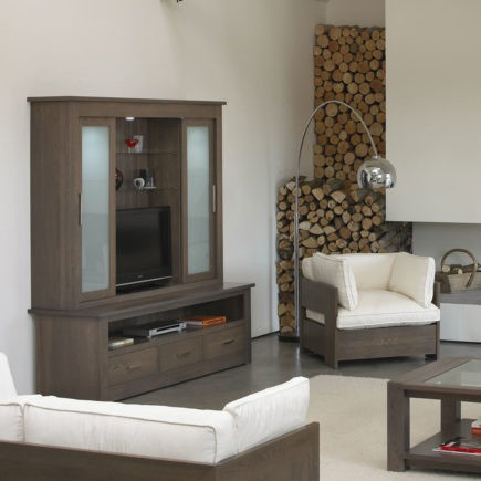 quercus solid oak TV unit with glazed top