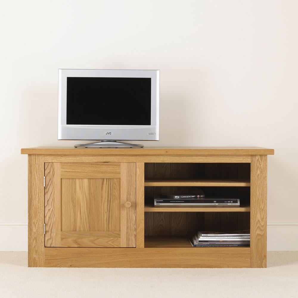 quercus solid oak tv unit with door con tempo furniture. Black Bedroom Furniture Sets. Home Design Ideas