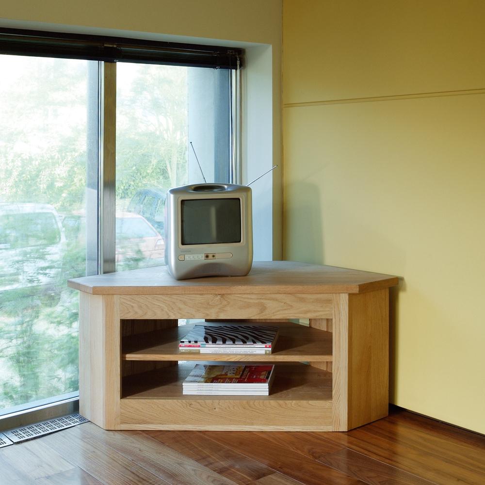Quercus Oak Open Corner Tv Unit Con Tempo Furniture