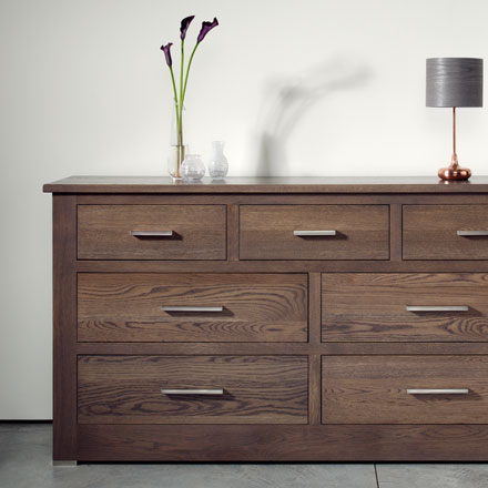 Quercus solid oak chest of drawers