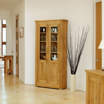 quercus solid oak glassed cabinet