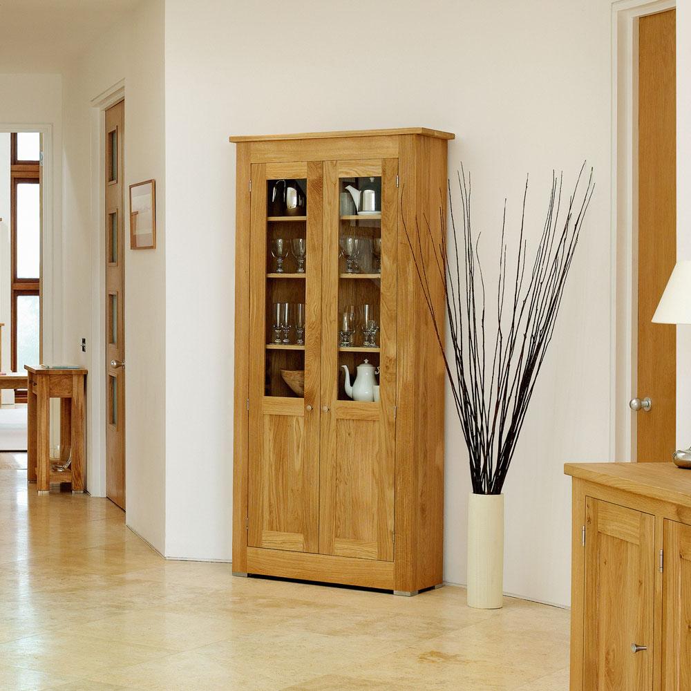 marvellous solid oak living room furniture | Quercus Solid Oak Glazed Cabinet 78-38/12 - Con-Tempo ...
