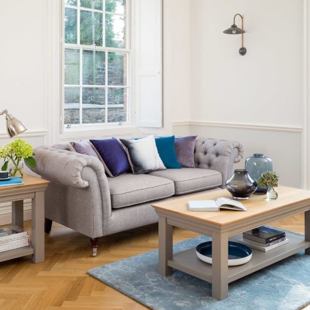 lusso grey painted living room furniture painted coffee tables with oak tops