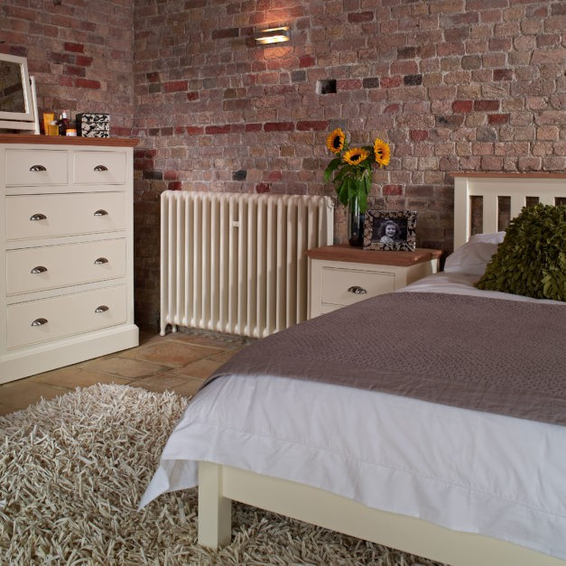 Impello ivory painted bedroom furniture with solid oak tops