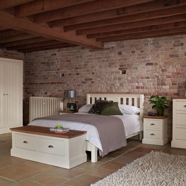 Impelo ivory painted bedroom furniture with solid oak tops
